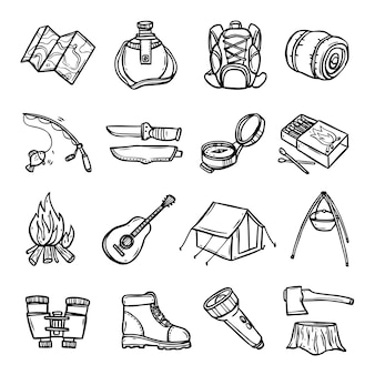 Camping negro blanco conjunto de iconos