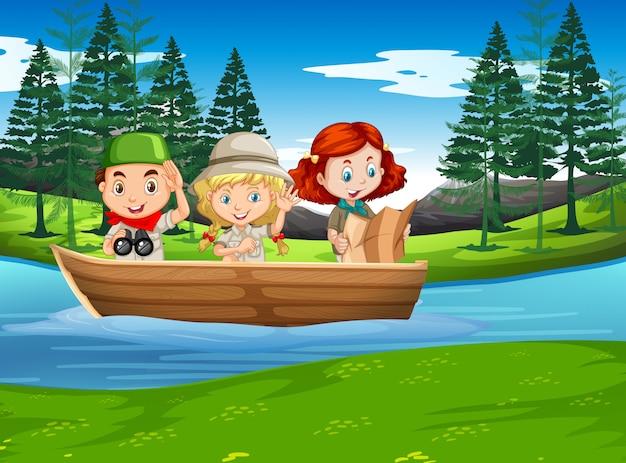 Camping niño y niña explorando la naturaleza.