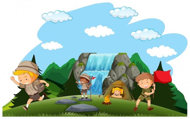Camping niños acampando en la naturaleza