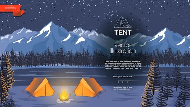 Camping de noche plana con hoguera cerca de tiendas de campaña turísticas en el bosque de río y el paisaje de las montañas