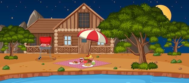 Camping o picnic en el parque natural en la escena nocturna.