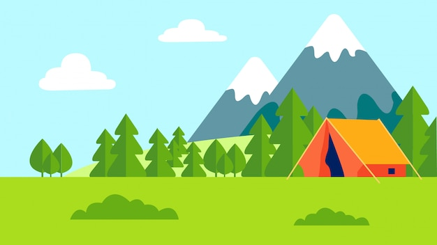 Camping de recreación al aire libre plano color ilustración