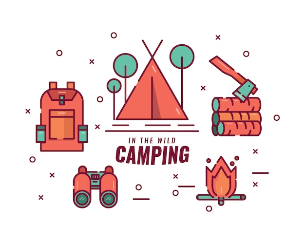 Camping en la selva. fogata, carpa, binoculares, equipaje y hacha.