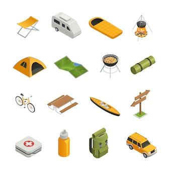 Camping senderismo conjunto de iconos isométricos