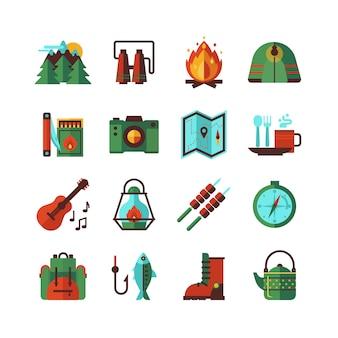 Camping senderismo conjunto de iconos planos
