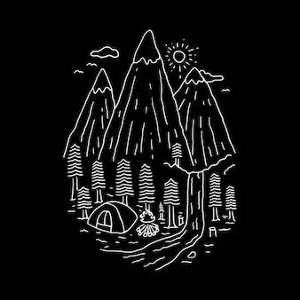 Camping senderismo escalada línea ilustración gráfica arte vectorial diseño de camiseta