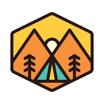 Camping senderismo escalada montaña ilustración