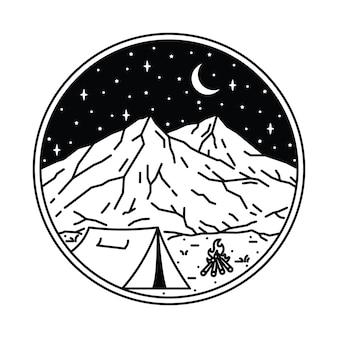Camping senderismo escalada montaña naturaleza ilustración