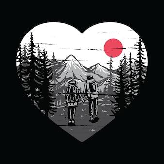 Camping senderismo escalada montaña naturaleza pareja amor ilustración gráfica vector