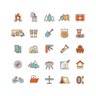 Camping y senderismo iconos de vector plano para infografía