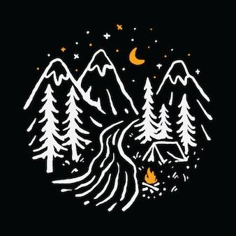 Camping senderismo montaña naturaleza río ilustración arte camiseta