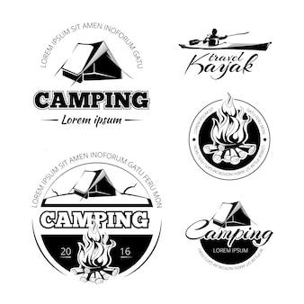 Camping y senderismo vectro etiquetas emblemas e insignias. expedición al aire libre e ilustración de kayak.