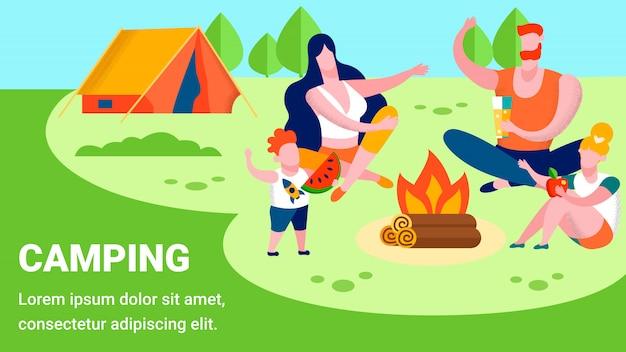 Camping texto y banner de publicidad familiar en reposo
