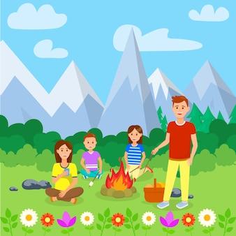 Camping de verano con la ilustración de dibujos animados de la familia.