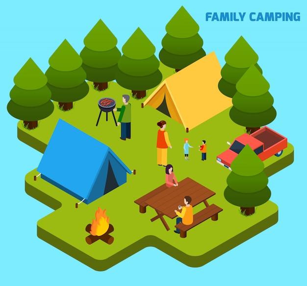 Camping y viajes composición isométrica