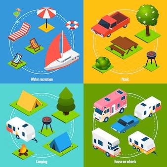 Camping y viajes conjunto de tarjetas isométricas
