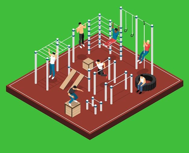 Campo atlético en verde con hombres en varias instalaciones deportivas durante el entrenamiento isométrico