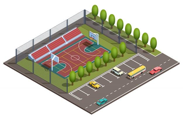 Campo de baloncesto isométrico 3d, aparcamiento.