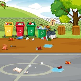 Un campo de deporte sucio.
