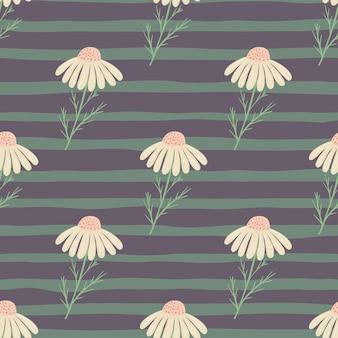 Campo de flores de patrones sin fisuras con elementos de flores de manzanilla dibujados a mano