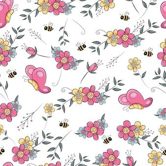 Campo de flores de patrones sin fisuras con mariposa y abeja