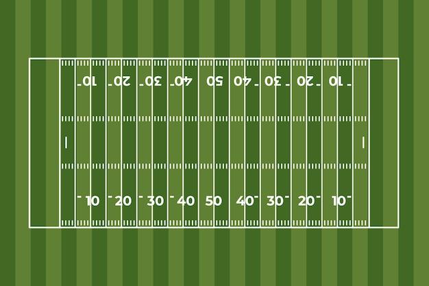 Campo de fútbol americano de diseño plano en la vista superior