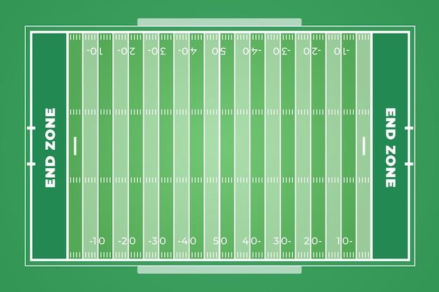 Campo de fútbol americano de diseño plano