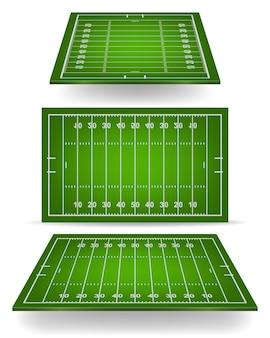 Campo de fútbol americano con perspectiva.