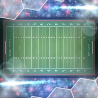 Campo de fútbol americano plano con filtros y destellos
