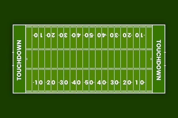 Campo de fútbol americano plano en vista superior