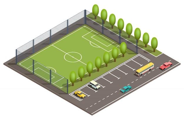 Campo de fútbol isométrico 3d, aparcamiento.