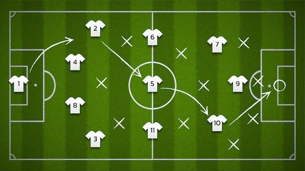 Campo de fútbol o fondo del campo de fútbol desde la vista superior con el icono del jugador de fútbol, ilustración.