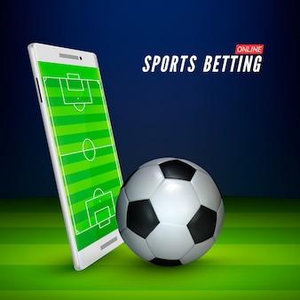 Campo de fútbol en la pantalla del teléfono inteligente y pelota en el estadio de fútbol. concepto de fútbol online. banner en línea de apuestas deportivas.