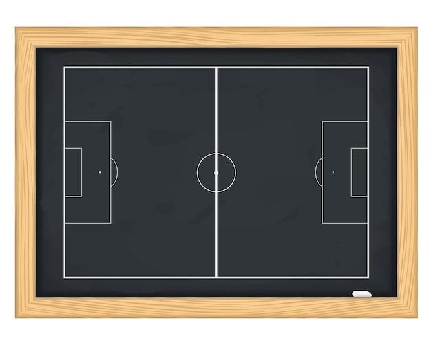 Campo de fútbol, en, pizarra, ilustración