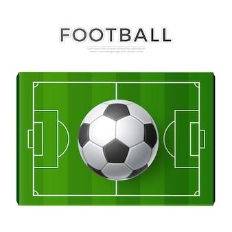 Campo de fútbol realista con pelota 3d