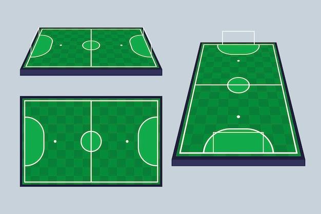 Campo de fútbol sala en diferentes perspectivas
