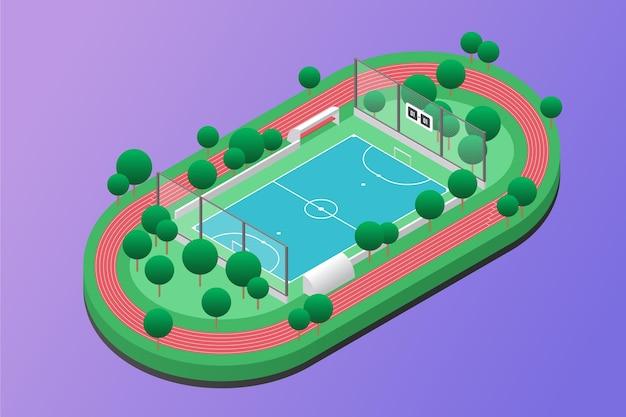 Campo de fútbol sala isométrico con árboles.