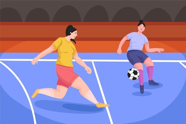 Campo de fútbol sala con jugadores