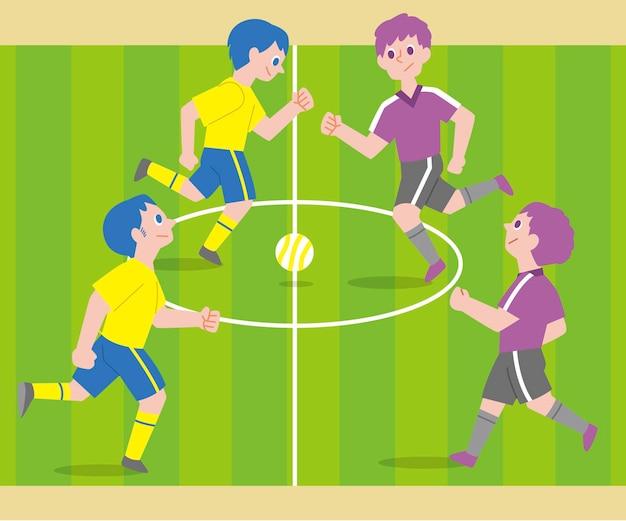 Campo de fútbol sala con personajes