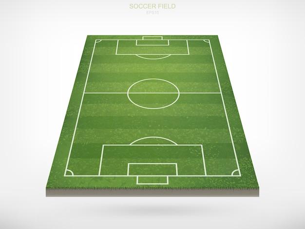 Campo de fútbol soccer sobre fondo blanco. con patrón de vistas en perspectiva y textura de campo de hierba verde.