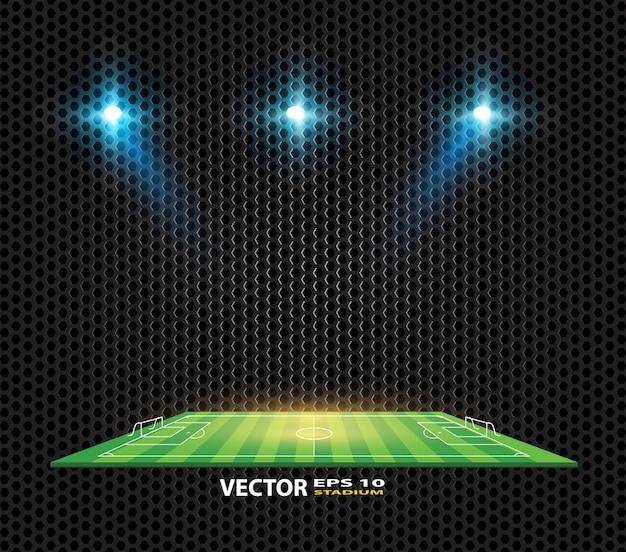 Campo de fútbol vector estadio luz marcador tablero de puntuación de campo.