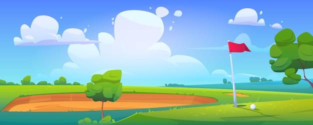 Campo de golf en paisaje de naturaleza con pelota sobre hierba