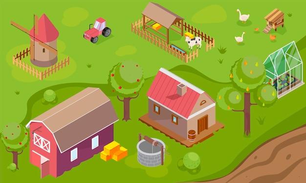 Campo con granero de la casa del molino de viento e ilustración isométrica del invernadero