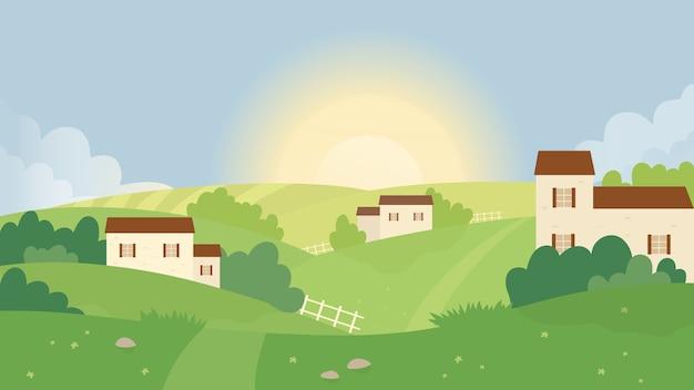 Campo de granja, ilustración de vector de paisaje de naturaleza de verano.