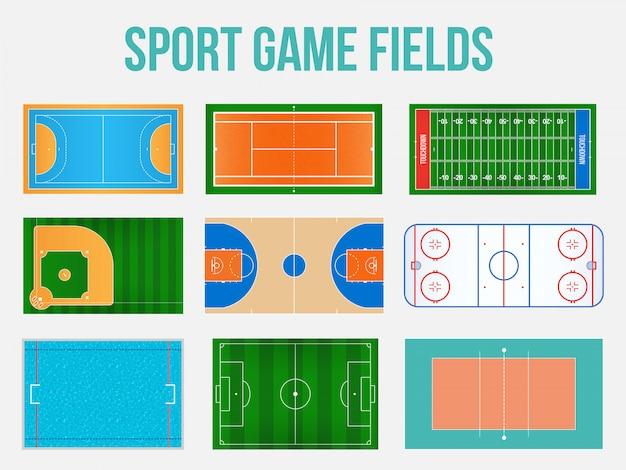 Campo de juego deportivo marcando.