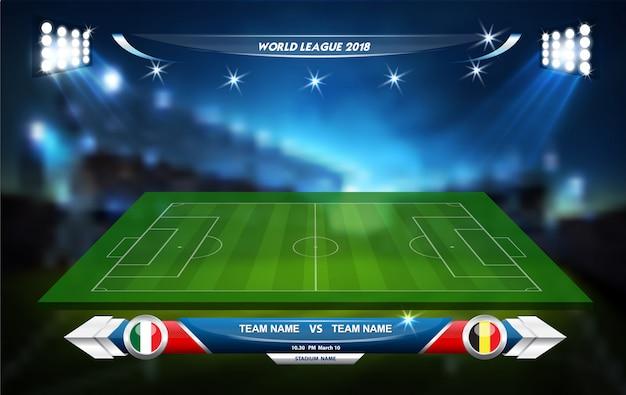 Campo de juego de fútbol con elementos informativos. juego deportivo. copa deportiva. ilustración vectorial