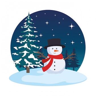 Campo de nieve con escena de muñeco de nieve