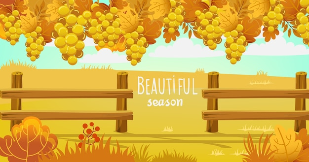 Campo de otoño rodeado por una valla de madera