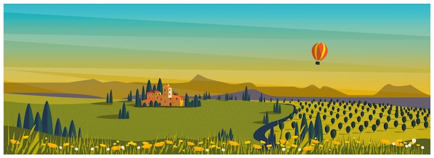Campo rural en primavera o verano. colina verde con viñedo con globo caliente. agricultura agrícola en primavera o verano.
