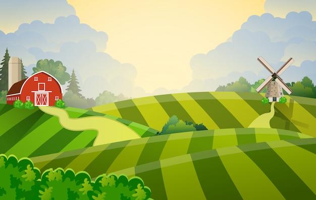 Campo de siembra verde de granja de dibujos animados